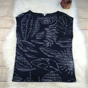 Gap Semi-sheer Tropical Leaf Sleeveless Shirt Sz M